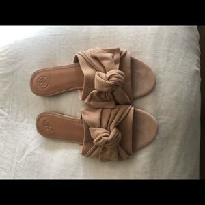 Tory Burch Annabelle Bow Slide Kid Suede Flats